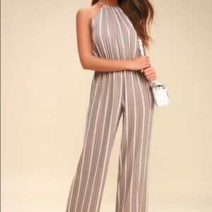 Tan and White Striped Jumpsuit